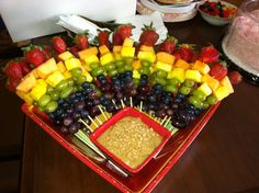 Fruit kabobs with Carmel toffee dip!