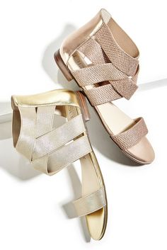 Comfortable elastic flat sandals in metallic gold & rose gold | Sole Society Aggie