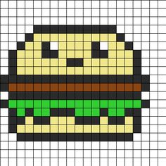 Cute Hamburger Perler Bead Pattern | Bead Sprites | Food Fuse Bead Patterns