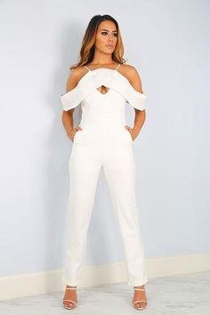 0248545d98f I am Jade... Hear Me Roar! Jade White Off Shoulder Jumpsuit Off