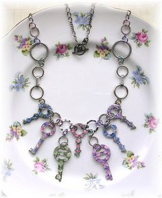 Vintage Circle Key Necklace Painted Roses by TheVintageHeart, $45.00