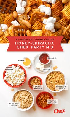 July 4th Party? Graduation celebration? Shower? We've got your back! This homemade snack mix is easy - no baking! Honey and Sriracha sauce bring a sweet and spicy kick to your party mix that's ready for munching in 15 minutes.