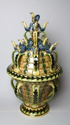 Slip Trailed Wassail Bowl and Cover with Birds by Paul Young