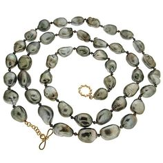 Tahitian Keshi Pearl Necklace | From a unique collection of vintage beaded necklaces at https://www.1stdibs.com/jewelry/necklaces/beaded-necklaces/