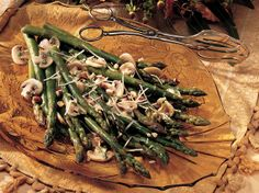 Need a spectacular way to serve fresh asparagus?  Try this version with fresh Parmesan, mushrooms, basil and toasted hazelnuts--mmm.