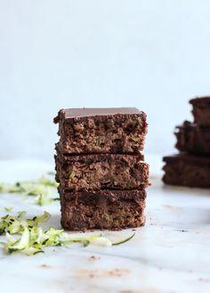 Paleo Flourless Zucchini Brownies with Chocolate Almond Butter Ganache • Fit Mitten Kitchen