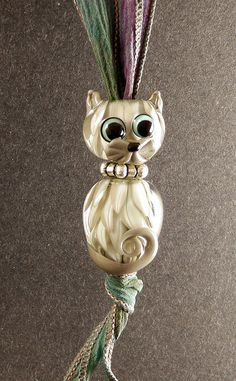 Glass Cat Bead Handmade Lampwork Glass Cat by PeggySudzLampwork, $60.00