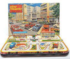 Vintage 1950s Tin Litho Wind Up TECHNOFIX City Traffic Drive & Park 3 Cars W Box