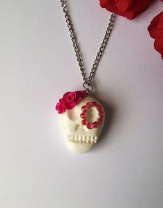 Handmade Sugar Skull Polymer Clay necklace White by DeadMamas Polymer Clay Necklace, Sugar Skull, Pendant Necklace, Trending Outfits, Unique Jewelry, Handmade Gifts, Etsy, Vintage, Kid Craft Gifts