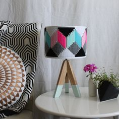 Colourful hand woven round Lampshade  Geo by FizzyLimeCreative