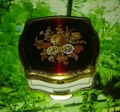 Vintage 1950s Pill Box With Floral Motif