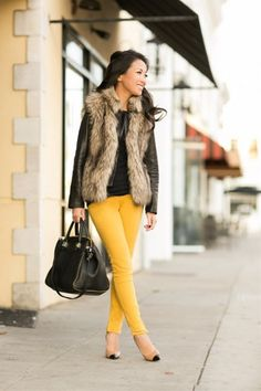 Gold Layers :: Faux fur vest & Canary bottoms | FashionLovers.biz