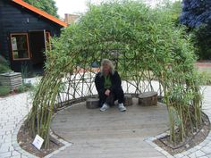 "Living willow dome - imagine the sight when the ""pussy willows"" bloom in the spring Natural Play Spaces, Outdoor Play Spaces, Outdoor Fun, Diy Garden, Garden Landscaping, Willow Dome, Gazebo, Pergola, Living Willow"