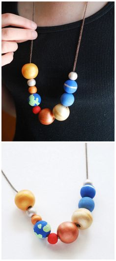 DIY Solar System Bead Necklace Tutorial from Handmade Charlotte.This DIY is made of hand painted wooden beads that kids of all ages can make.     For more DIY kids jewelry go here: unicornhatparty.com/tagged/jewelry  For older kids and adults, this Beaded Solar System Necklace from the Etsy Store of LeBeadeau provides lots of DIY inspiration. I just checked her Etsy store (September 24, 2015), and it's still closed.