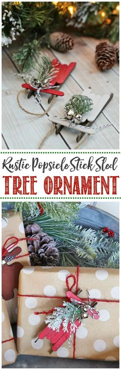 Handmade Christmas Ornaments - Popsicle Stick Sleds, DIY and Crafts, These rustic popsicle stick sleds are so pretty. They& an easy DIY Christmas tree ornament that and are so much fun to make! Diy Christmas Tags, Christmas Trees For Kids, Christmas Tree Painting, Painted Christmas Ornaments, Homemade Christmas, Christmas Projects, Simple Christmas, Christmas Decorations, Christmas 2019