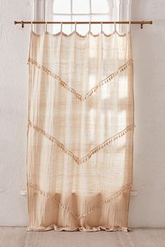 Shop Greta Fringed Window Panel at Urban Outfitters today. Moroccan Curtains, Half Curtains, Closet Curtains, Moroccan Decor, Sheer Curtains, Patterned Curtains, Window Curtains, Window Panels, Window Coverings