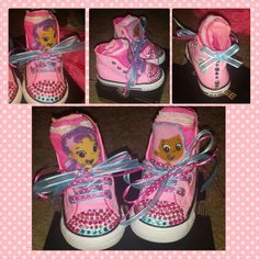 Bubble guppies bedazzled converse for little girl's 2nd birthday.