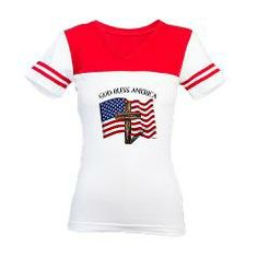 God Bless American With US Flag and Rugged Cross Jr. Football T-Shirt    •   This design is available on t-shirts, hats, mugs, buttons, key chains and much more   •   Please check out our others designs at: www.cafepress.com/TsForJesus