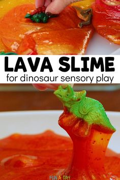 This molten lava slime is perfect for little dinosaur lovers. The kids can explore science, sensory play, and pretend play with this super engaging slime activity. Early Learning Activities, Indoor Activities For Kids, Montessori Activities, Sensory Bins, Sensory Play, Dinosaur Play, Dinosaurs Preschool, Slime For Kids, Dramatic Play Centers