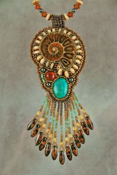 Bead Embroidered Necklace Ammonite with Turquoise by sedonaskye