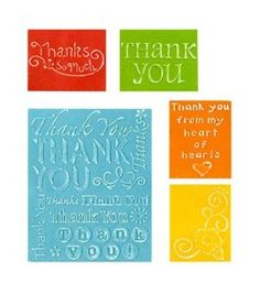 Sizzix Textured Impressions Embossing Folders 5/Pkg, Thank You #2