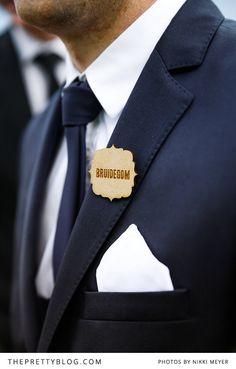 Wooden brooch for groom   Photographers: Nikki Meyer, Groom's Suit: Zara Man,  Stationery: Polkadot Wedding & Design