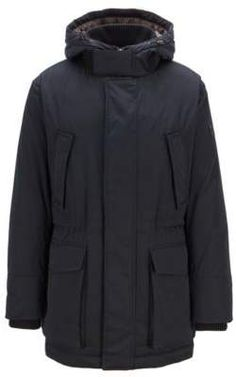 a2886eabfbd71 BOSS Hugo Down-filled parka in technical twill fabric quilted lining 42R  Open Blue