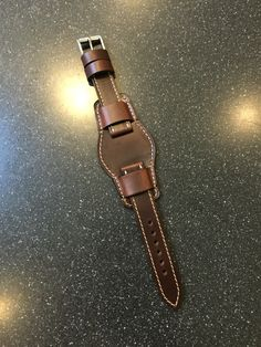 Custom Horween Chromexcel Leather Bund Watch Strap from Leather Pouch, Leather Cuffs, Leather Belts, Leather Tooling, Leather Jewelry, Leather Carving, Mens Watches Leather, Bracelet Cuir, Leather Projects