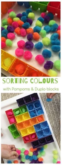 Sorting Colours with Pompoms & Duplo Learning https://www.amazon.com/Kingseye-Painting-Education-Cognitive-Colouring/dp/B075C4SD9N