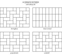 Subway Tile Pattern Ideas 9 different ways to lay subway tiles | subway tiles, alice and