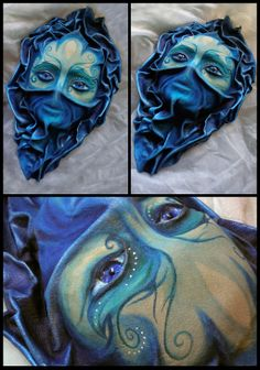 """Water Nymph"" Wall decoration leather mask Made of formed leather. Face covered with sand and painted with acrylic colors. Eyes made of glass stones. Atlantis, Larp, Oregon Country Fair, Pagan Decor, Leather Book Covers, Beach Makeup, Wood Nymphs, Water Nymphs, Leather Mask"