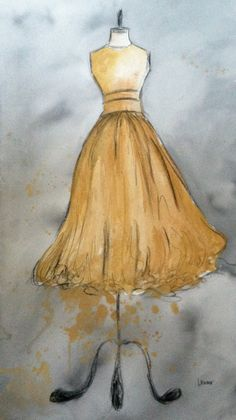 CLEARANCE  Vintage Dress Painting  Large by laurenspaintpalette, $120.00