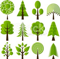 Retro tree designs royalty-free stock vector art