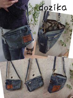 ショルダーも便利で使い易いと、オーダー殺到中! Fabric Handbags, Fabric Bags, Denim Bag Patterns, Blue Jean Purses, Denim Crafts, Handmade Purses, Recycled Denim, Girls Bags, Creations
