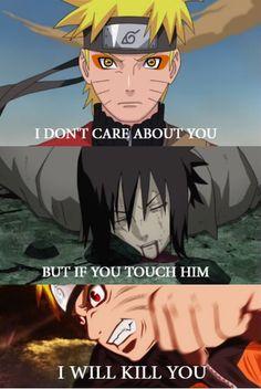 I don't care about you but if you touch him I will kill you #NaruSasu #SasuNaru Naruto x Sasuke