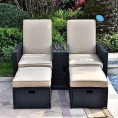 """Patio chairs are the key """"ingredient"""" for the patio space you have. Not only can they add up in terms of decoration, they will also serve as means to a good time with friends and family. With the right pick, you will transform your outside space in visuals and allow yourself some enjoyable relaxing time on your patio. Rattan Sofa, Chair And Ottoman, Cushions On Sofa, Patio Furniture Sets, Wicker Furniture, Conversation Sofa, Patio Chairs, Sofa Set, Foot Rest"""