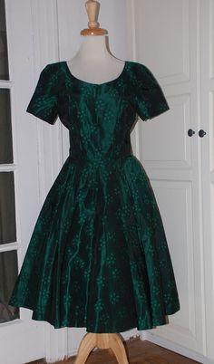 50s Dress Tea Length Brocade Green Black by fourstoryvintage