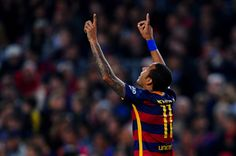 Neymar of FC Barcelona celebrates after scoring his team's second goal from the penalty spot during the La Liga match between FC Barcelona and Rayo Vallecano at the Camp Nou stadium on October 17, 2015 in Barcelona, Catalonia.