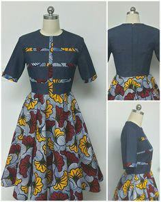 Collection DENWAX. Jean imprimé africain sadapter & Flare African Fashion Ankara, African Fashion Designers, Latest African Fashion Dresses, African Print Fashion, African Style, African Attire, African Dress, Wedding Dress With Pockets, Dress Pockets