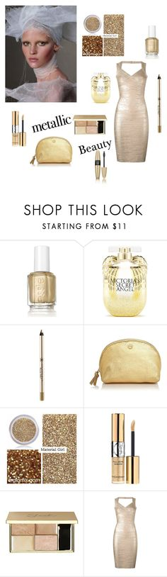 """""""Metallic gold"""" by yasmine-elansary ❤ liked on Polyvore featuring beauty, Pat McGrath, Essie, Victoria's Secret, Anastasia Beverly Hills, Tory Burch, Material Girl, Yves Saint Laurent and Hervé Léger"""