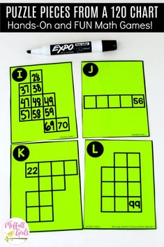 120 Puzzle Pieces: This fun Grade Math activity helps students count numbers up to 120 in a hands-on way! First Grade Activities, 1st Grade Math, Math Activities, Grade 1, Second Grade, Numbers To 120 First Grade, Counting To 120, 120 Chart, Core Learning