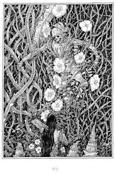 Ejemplo del estilo del ilustrador donde se observa su manejo en el dibujo mediante lineas que moldean las figuras y que les proporcionan volumen y texturas.