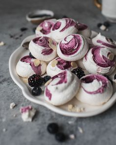 "Blueberry Swirl Meringue Cookies, made from ""Oh Sweet Day! A Celebration Cookbook of Edible Gifts, Party Treats and Festive Desserts"", the… Meringue Cookie Recipe, Meringue Desserts, Cookie Recipes, Dessert Recipes, Brownie Recipes, Cupcake Recipes, Yummy Recipes, Mirangue Cookies, Fancy Cookies"
