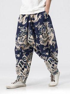 Drop-crotch Dragon Print Harem Pants - multicolor M Harem Pants Outfit, Harem Pants Men, Jogger Pants, Men's Pants, Fashion Pants, Mens Fashion, Mens Clothing Sale, Men's Clothing, Drop Crotch Pants