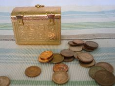 Vintage Russian Jewelry Box Metal Treasury Chest  by ContesDeFees