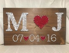 Wedding/Anniversary String Art Sign, Date Art, Wall decor, Personalized gift for. Wedding Anniversary String Art- order from KiwiStrings on Etsy! Anniversaire de mariage/String Art signe Date de lArt Say as a result of the best m Wedding Anniversary Gifts, Wedding Gifts, Trendy Wedding, Girlfriend Anniversary Gifts, Boyfriend Birthday, Wedding Wishes, String Art Diy, Wedding String Art, Wedding Date Art