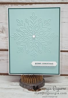 You're going to love how quick and easy this Christmas card is to make with the new Winter Wonder Embossing Folder . . . available tomorrow, September 1st! Simply add a greeting and you're good to go. How easy will it be to change this to a winter birthday or even thank you card by simply switching the sentiment from the Teeny Tiny Wishes stamp set?! All of the greetings in that stamp set will …