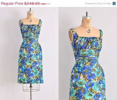 SALE ... 1950s GIGI YOUNG - 50s party dress / wiggle 50s dress / watercolor print on Etsy, $173.60
