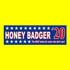 "Funny ""HONEY BADGER '20"" President BUMPER STICKER 2020 Don't Care Anti Trump GOP"