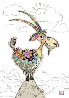 Art Birthday, Birthday Cards, Cartoon Drawings, Animal Drawings, Art Carton, Greeting Cards Uk, Art Fantaisiste, Goat Art, Bug Art